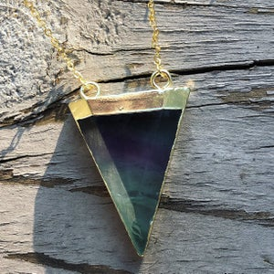Image of Gold Dipped Rainbow Fluorite Pyramid Necklace (Ready to Ship)