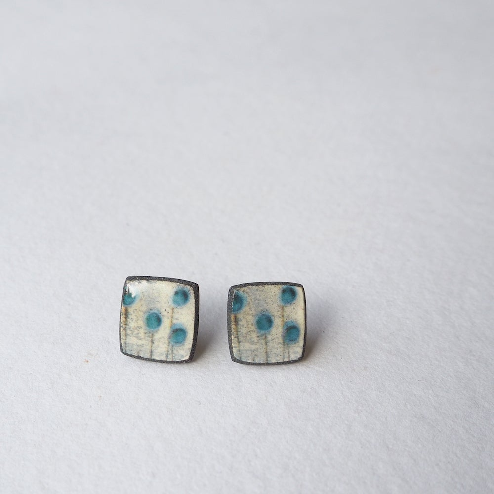 Image of Elements Range - Seed Heads Porcelain Stud Earrings (Squared)