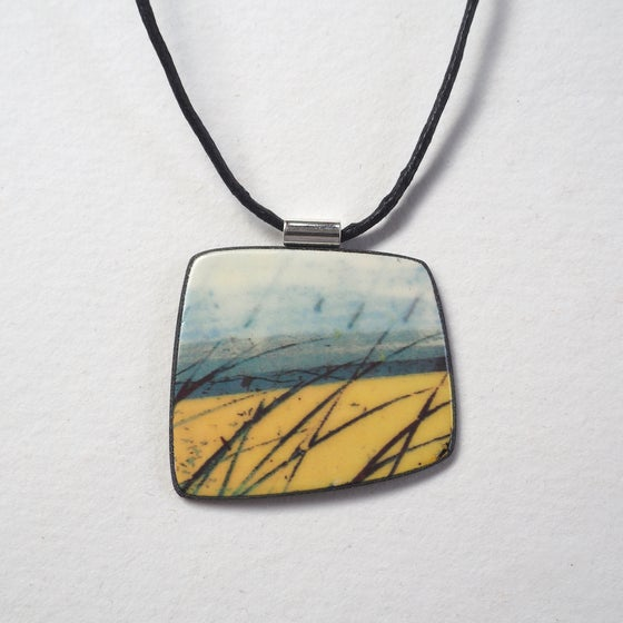 Image of Contemporary Statement Porcelain Ceramic Necklace, Handmade Pendant, Coastal Colours (Squared)