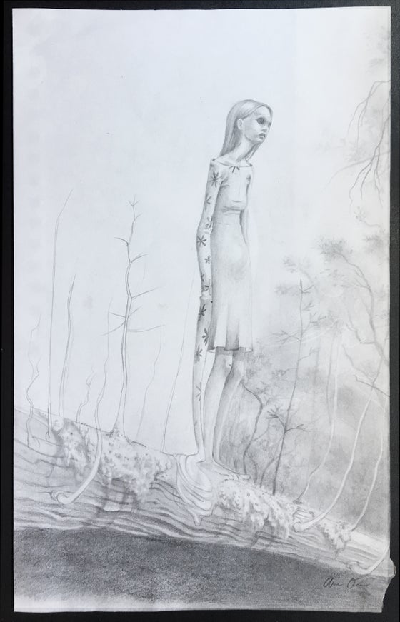 """Image of Prelim sketch for """"She's So Weird"""" final painting"""