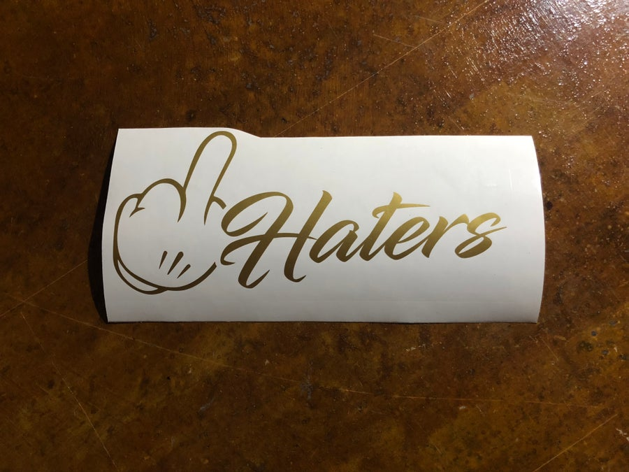 """Image of 10"""" f*ck haters decal"""