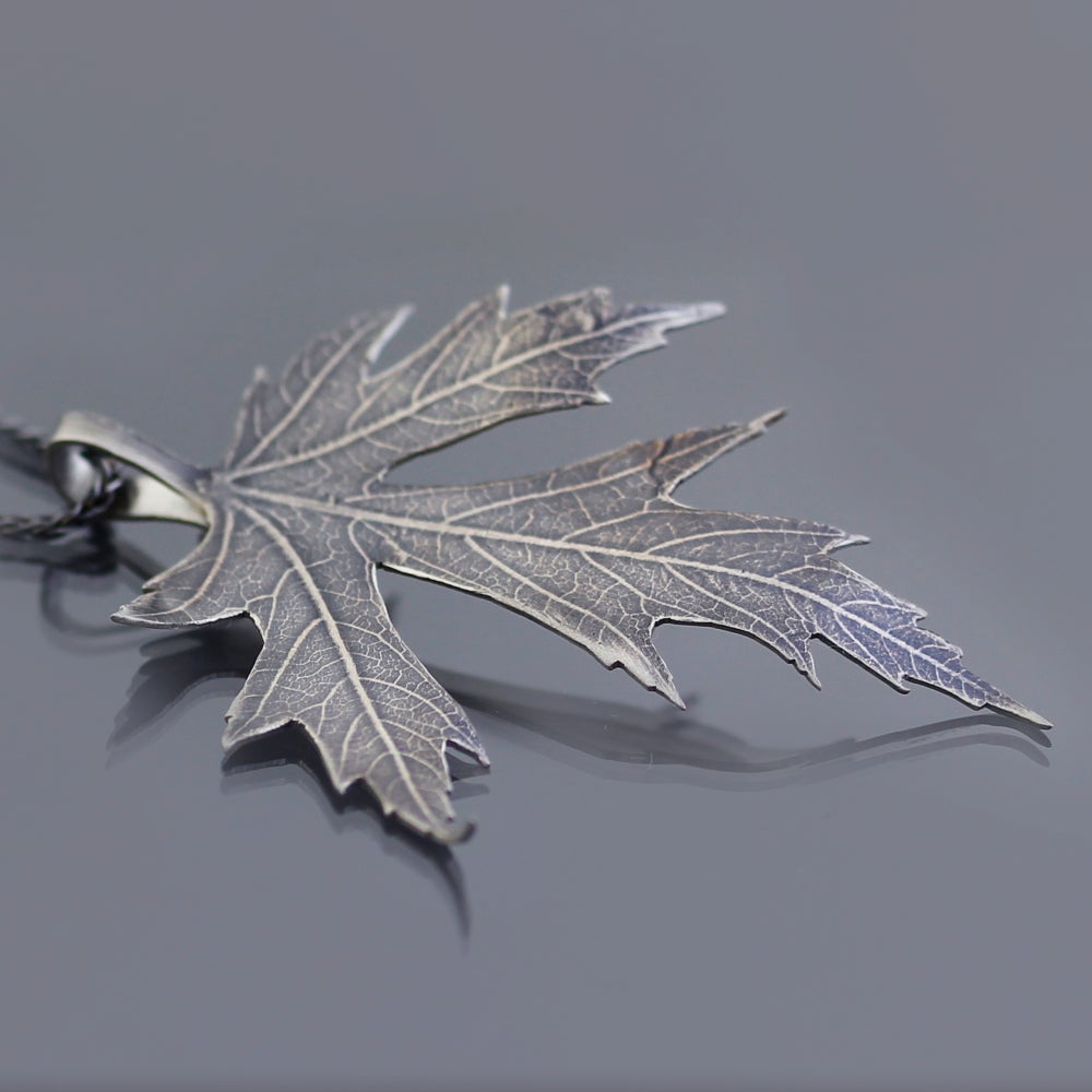 Image of Sterling Silver Maple Leaf Pendant