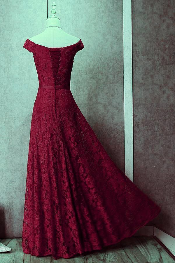 Beautiful Red Lace Off the Shoulder Long Gown, Charming Formal Dress