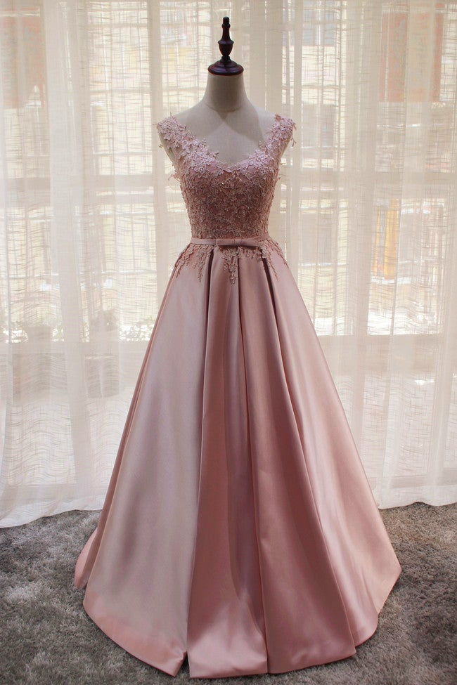 Pink Satin Long Elegant Lace-up New Party Dress, Pink Formal Gown
