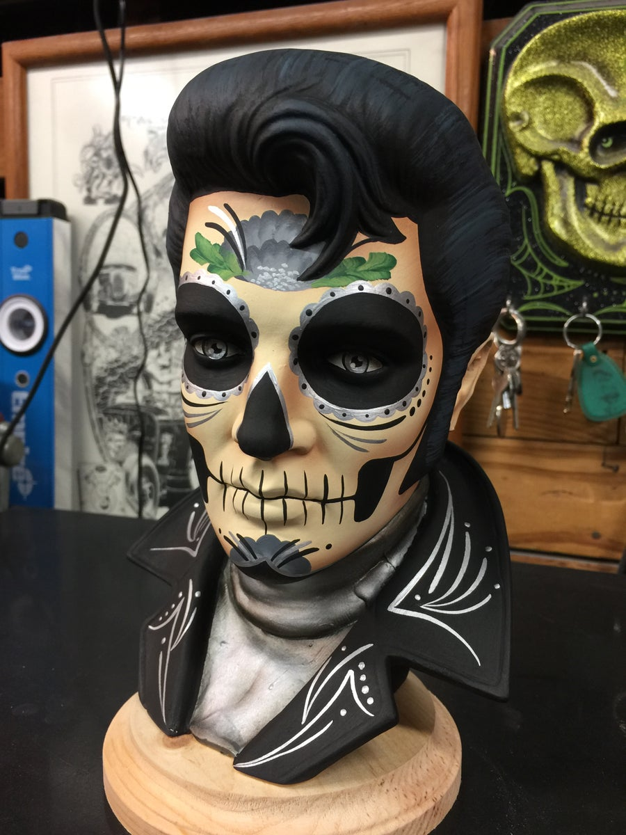 Image of Silver Day of the Dead Ceramic Elvis Bust