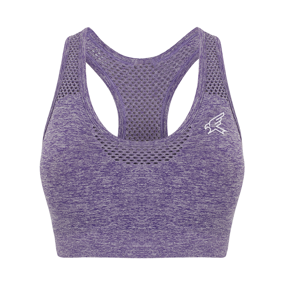 Image of Ladies Seamless Purple Marl Crop Top