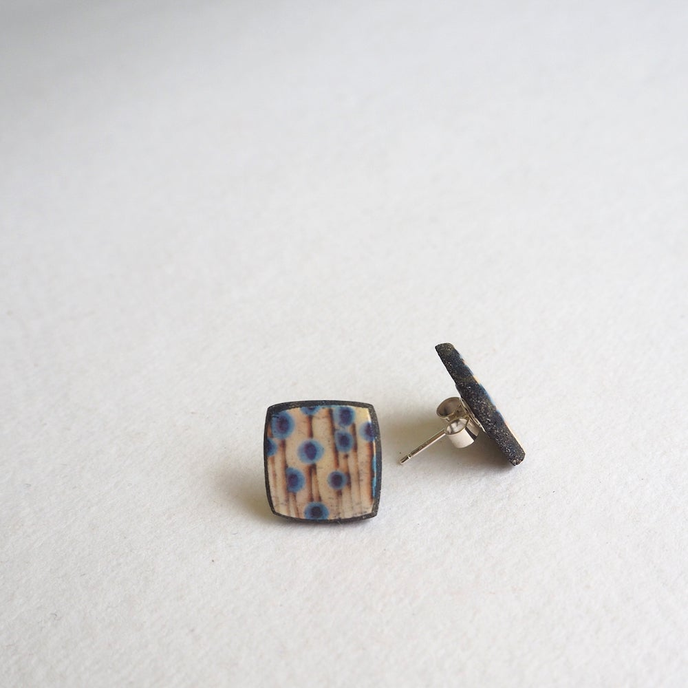 Image of Elements Range - Stems Porcelain Stud Earrings (Squared)