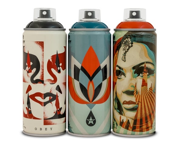 Image of SET OF 3 SHEPARD FAIREY CAN`S - LTD ED 500, EACH IN WOODEN PRESENTATION CASES
