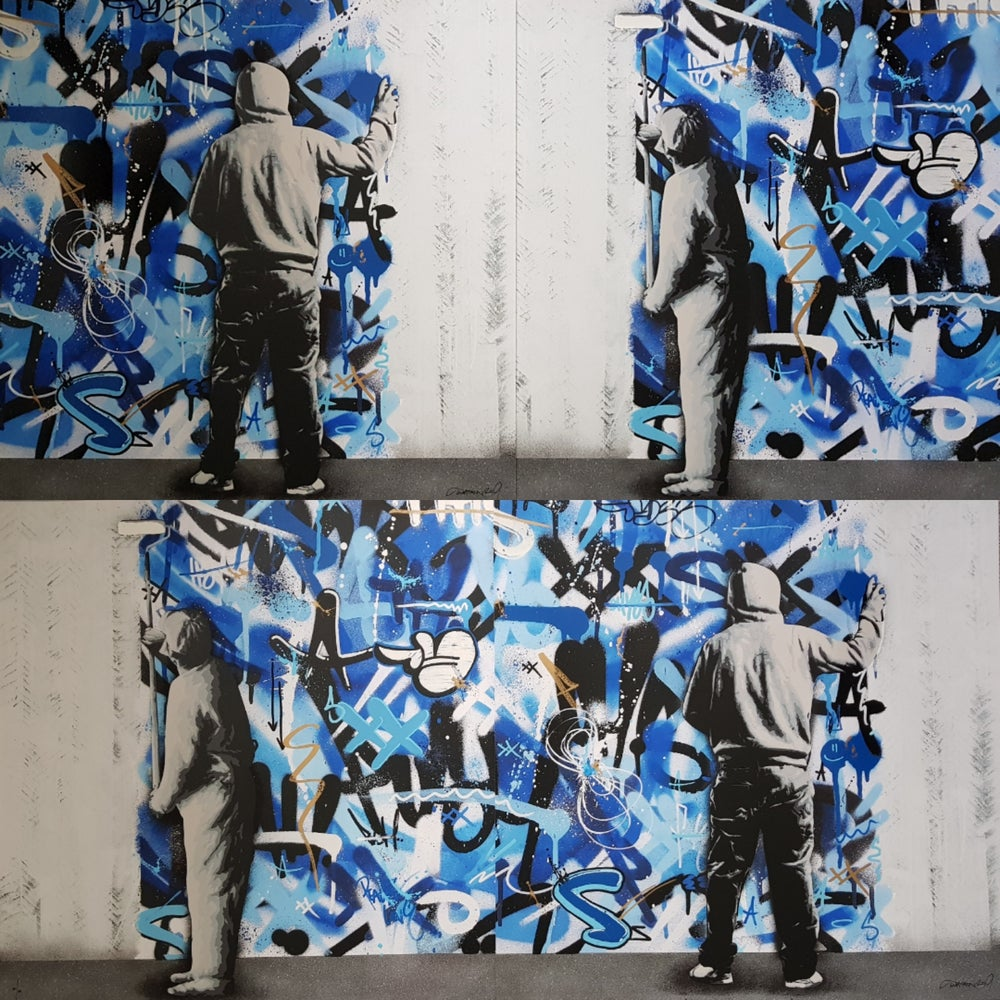 Image of MARTIN WHATSON - THE CYCLE (HAND FINSISHED DIPTYCH) - 120CM X 60CM UNIQUE SCREENPRINT - LTD ED 50