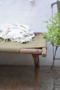 Image of LIT DE CAMP - LIT PICOT toile beige disponible