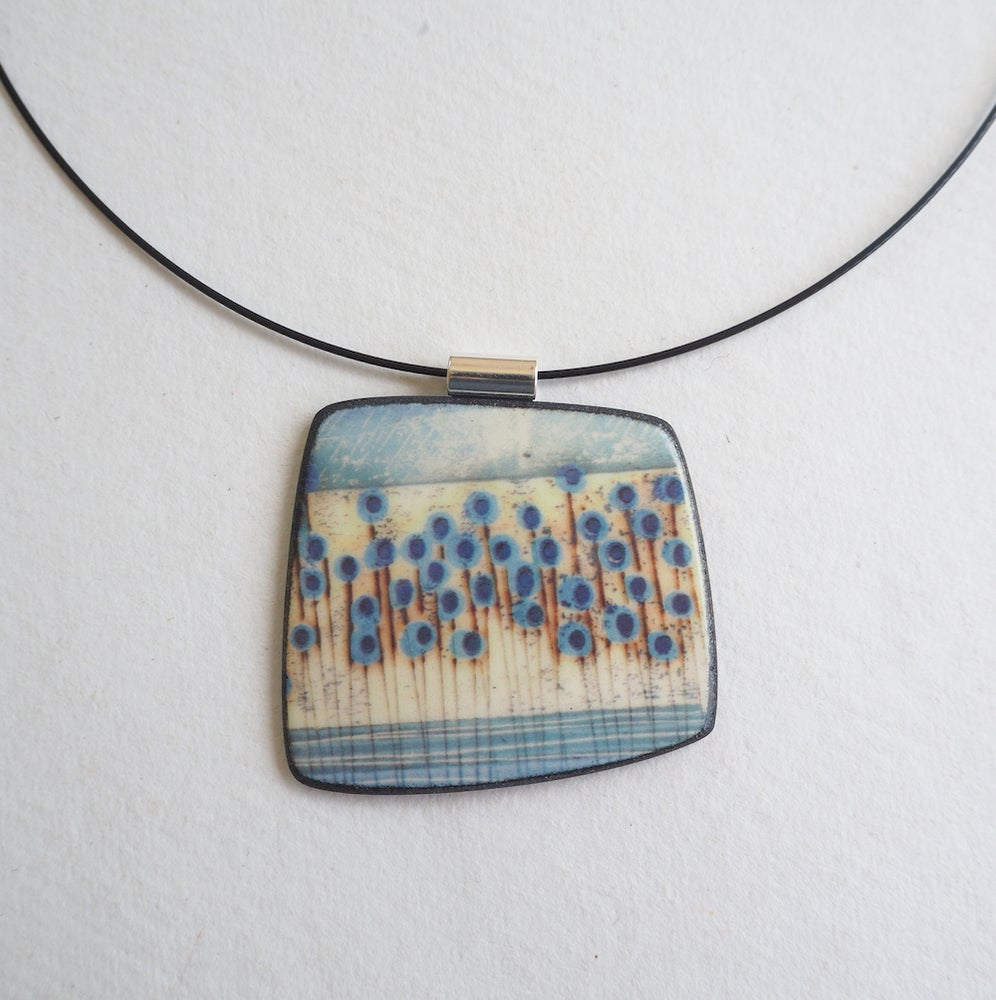 Image of Contemporary Porcelain Statement Necklace, Handmade Pendant, Blue Stems