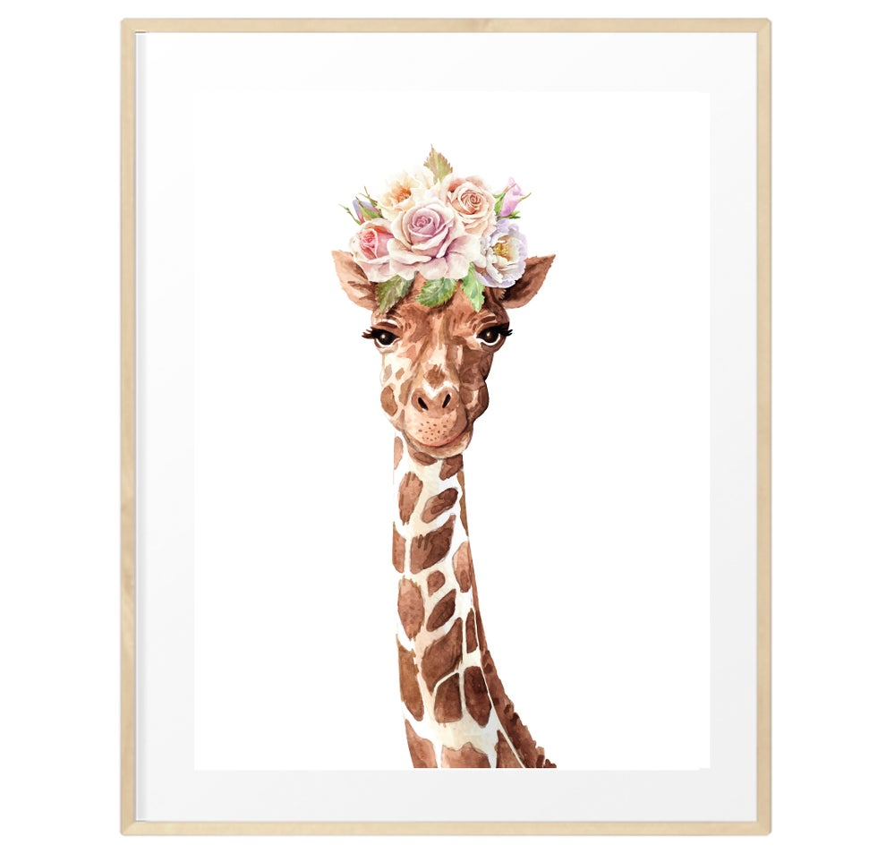 Image of Baby giraffe flower crown print