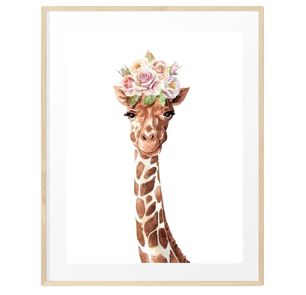 Image of Baby giraffe flower crown print