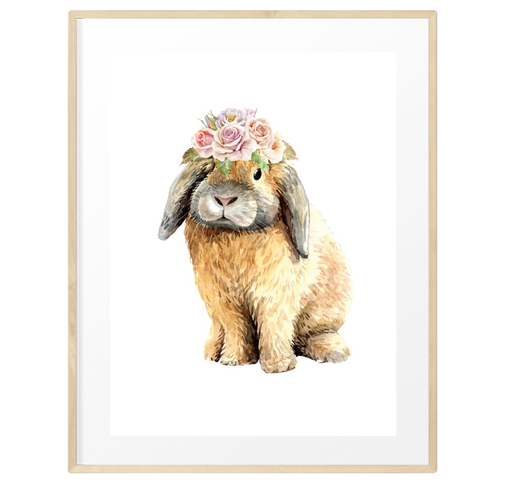 Image of Baby bunny flower crown print
