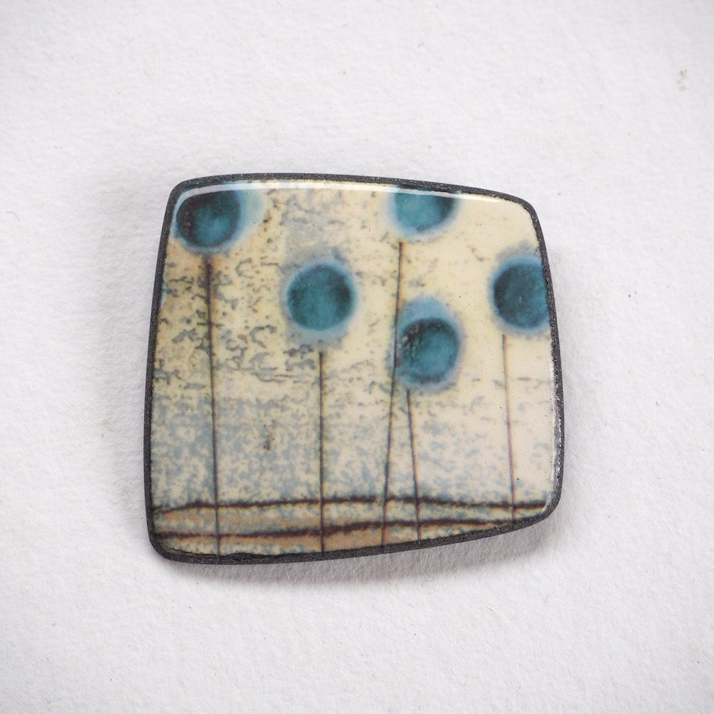Image of Contemporary Porcelain Handmade Brooch, Nature Inspired Blue-Seed Heads  (Squared)