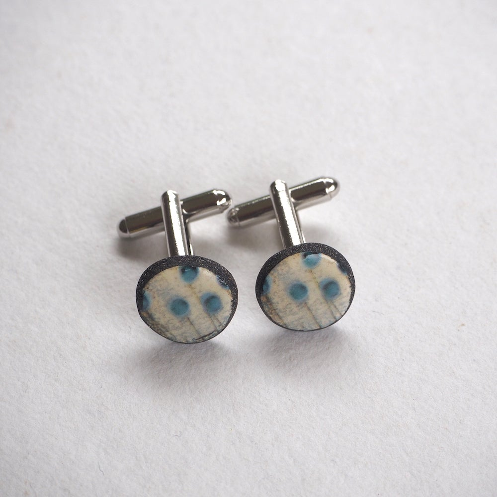 Image of Elements Range - Seed Heads Porcelain Cufflinks (Rounded)