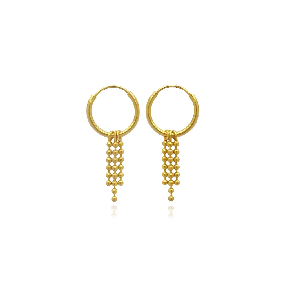 Image of Gold hoops with chain fringe
