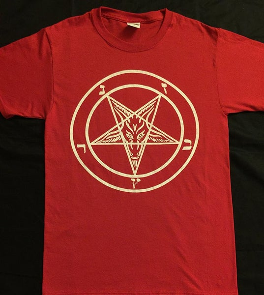 Image of Pentagram - Red T shirt with white print