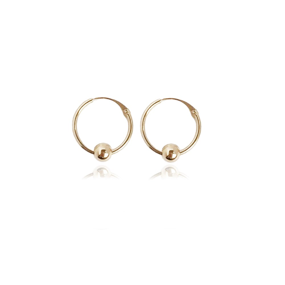 Image of 9ct gold hoops with single gold bead