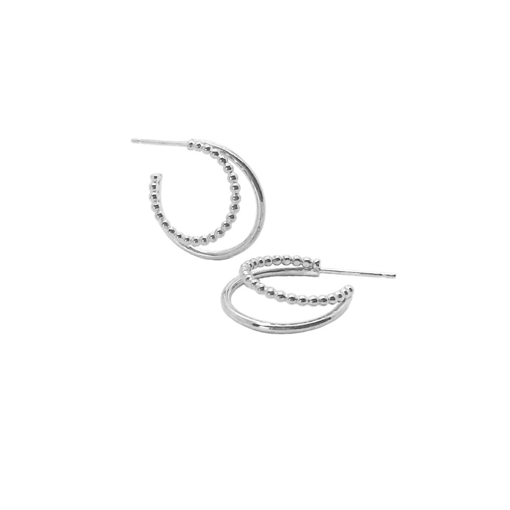 Image of Silver double hoops