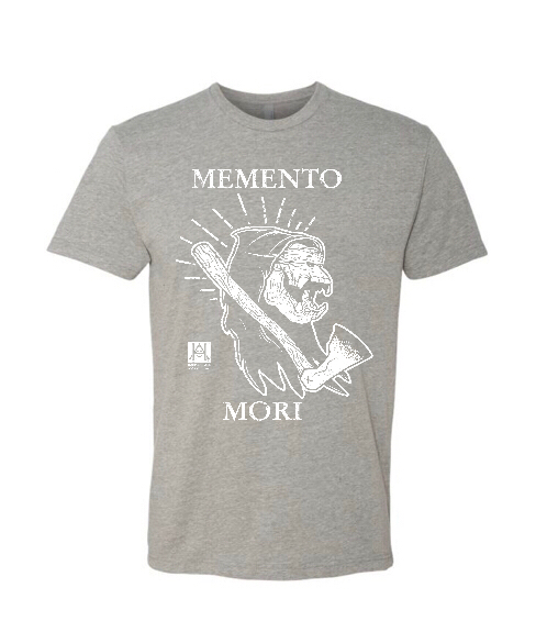 Image of HAC - Grim Ape Memento Mori/We'll Stop When They Throw Dirt Grey Tee