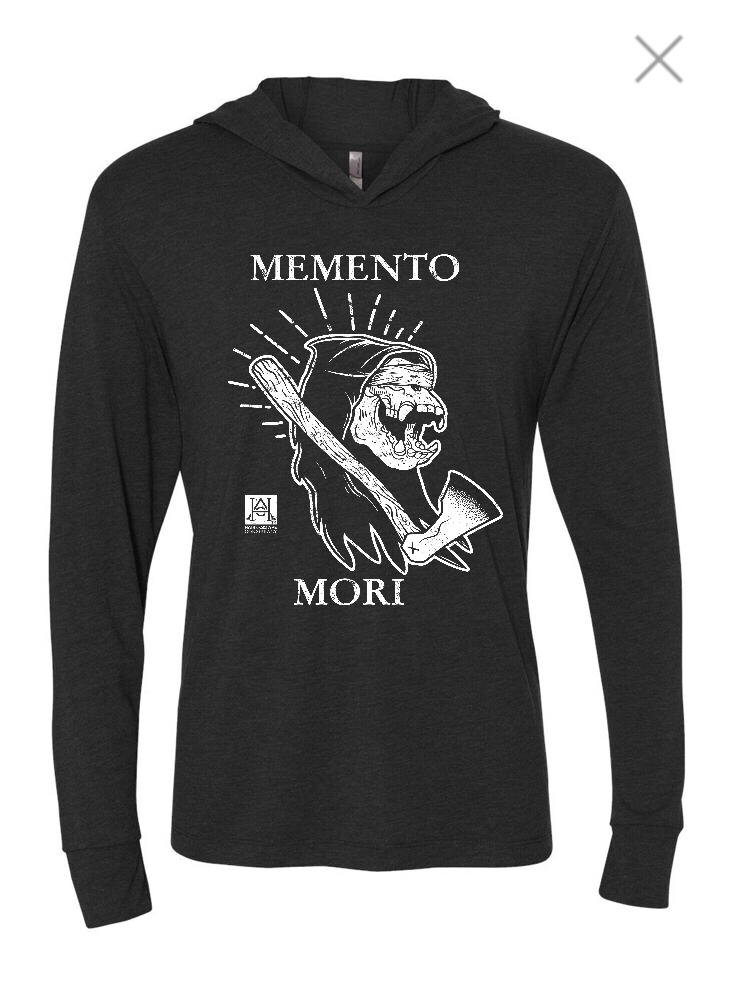 Image of HAC - Grim Ape Memento Mori/We'll Stop When They Throw Dirt On Us Charcoal L/S Tech Tee Hoody