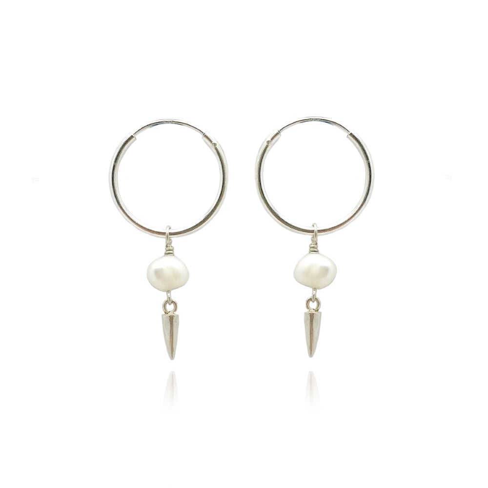 Image of Silver pearl and spike hoops