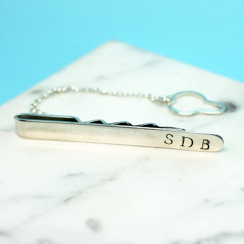 Image of Personalised Sterling Silver Tie Clip