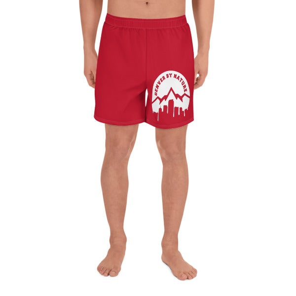 """Image of """"DBN"""" Men's Athletic Shorts - RED"""