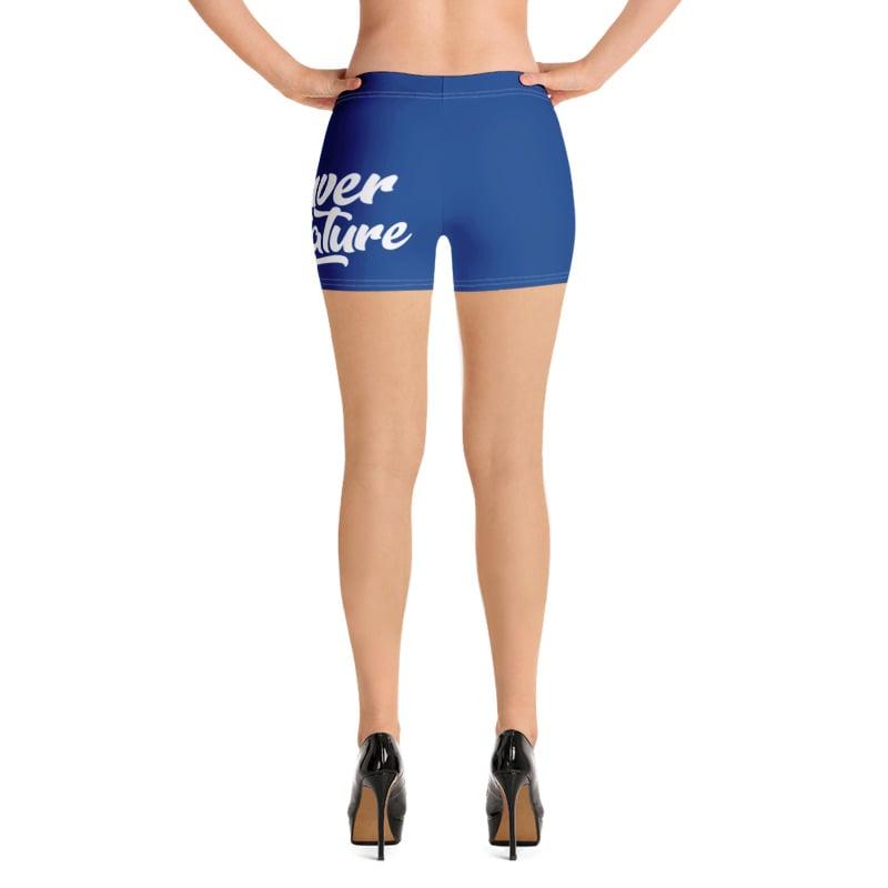 "Image of ""DBN"" Women's Biker Shorts - BLUE"