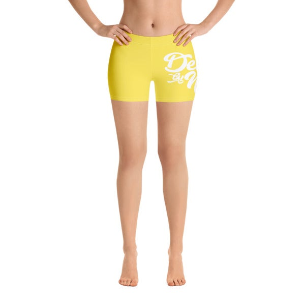 "Image of ""DBN"" Women's Biker Shorts - YELLOW"