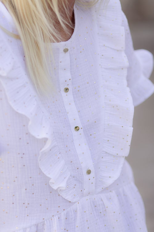 Image of BLOUSE ARIA - BLANC CASSÉ/OR