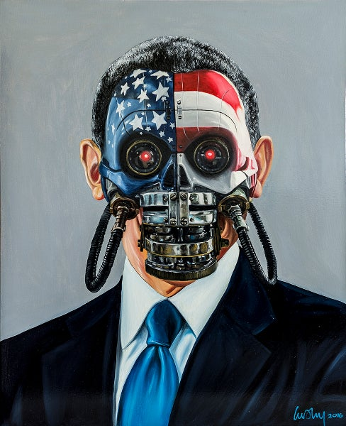 Image of Machine Men oil on canvas. Obomber.