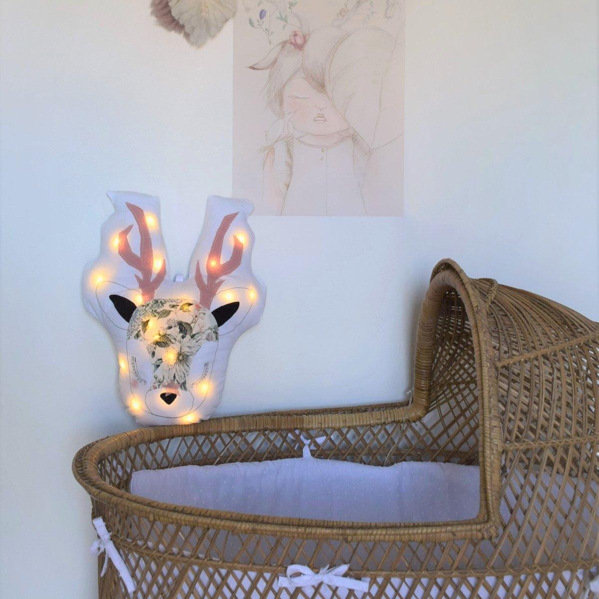 Image of GABRIEL - Edition limitée Cerf lumineux velours milleraies fleuri vintage