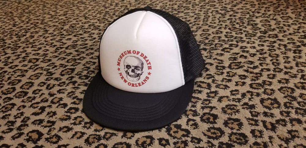 Image of M.O.D New Orleans Logo Black & White Trucker Hat