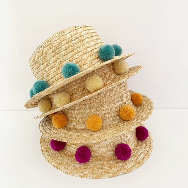 Image of Partial Pom Boater Hat - Jewel Tones