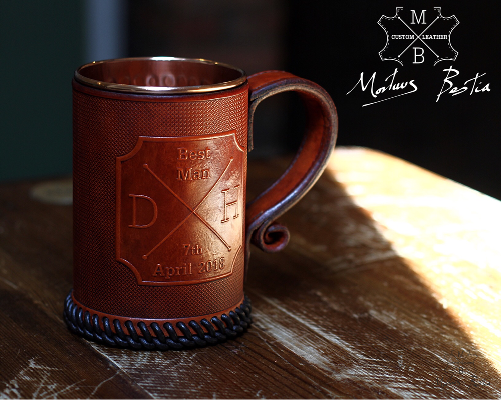 Image of Hipster Cross / Compass Leather Tankard