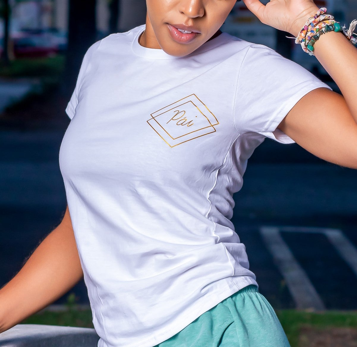 white and gold shirt womens