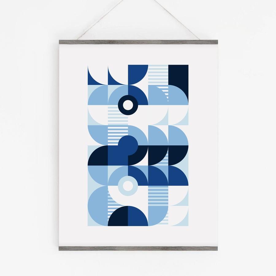Image of Monochromatic Machine in Blue Art Print