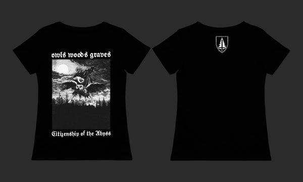 Image of OWLS WOODS GRAVES - 'Citizenship of the Abyss' women's black t-shirt