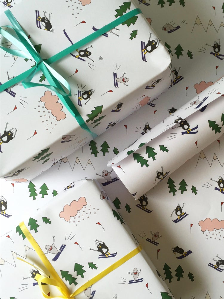 Image of Penguin And Shark Go Skiing Wrapping Paper