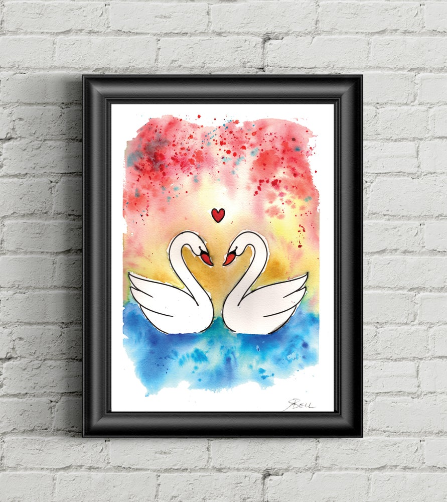 Image of Swan Love 8x10 print
