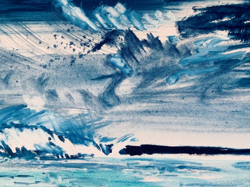 """Image of Stormy Blue Umbrella Beach 30"""" x 40"""" painting (framed)"""