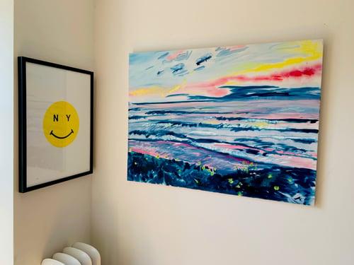 "Image of Moonlight Beach 40"" x 30"" painting"