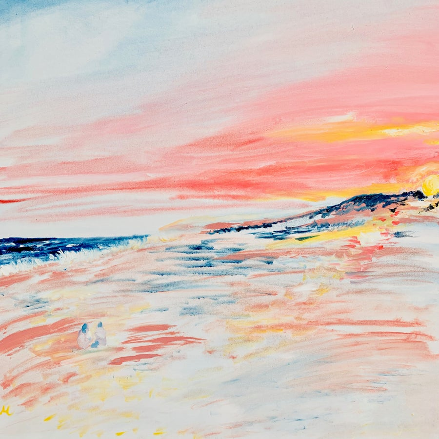 "Image of Montauk sunset II, 30"" x 30"" painting"