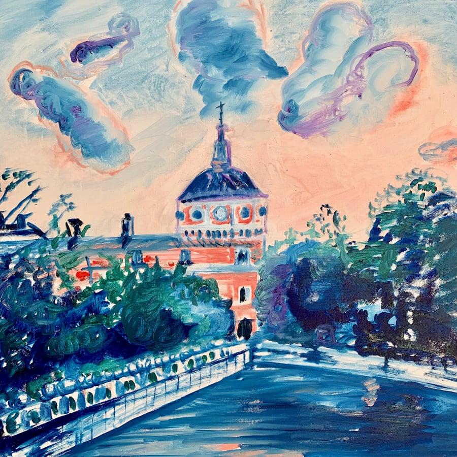 "Image of Palacio de Aranjuez 30"" x 30"" painting"