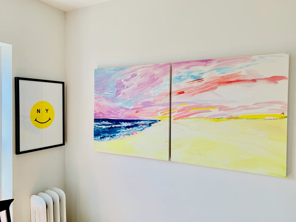 """Image of Montauk pastel rainbow 30"""" x 30"""" x2 (two canvases, only sold as a pair)"""