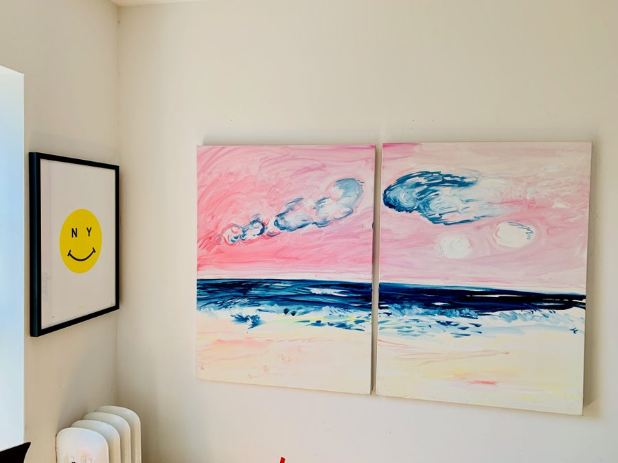 """Image of Big Pink 30"""" x 40"""" x 2 paintings"""