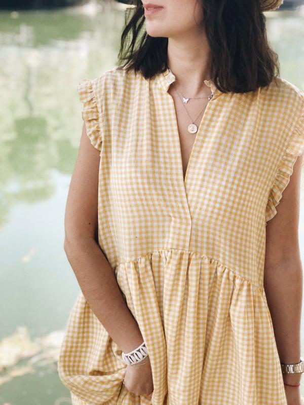Robe Sarah-Lou vichy jaune - Maison Brunet Paris