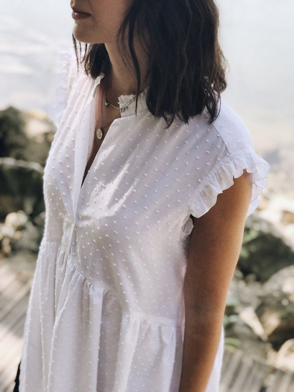 Robe Sarah-Lou plumetis blanc - Maison Brunet Paris